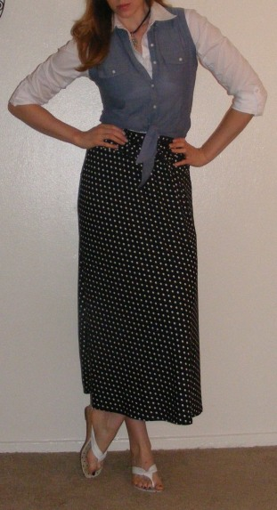 Black Maxi Skirt & White Button-Up with Chambray Vest