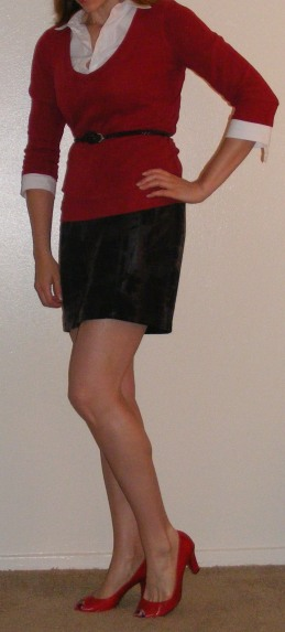 Black Mini Skirt, White Button-Up & Red Top