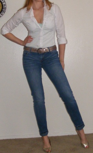 Faded Skinny Jeans & White Poplin