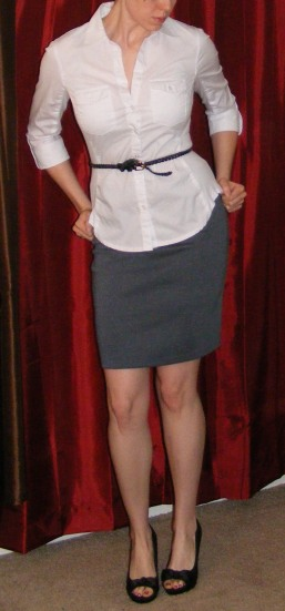 Grey Pencil Skirt & White Poplin