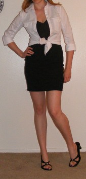 LBD & Tied White Button-Up