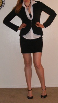 LBD & White Button-Up with Black Sweater-Blazer