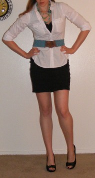 LBD & White Button-Up with Turquoise Belt