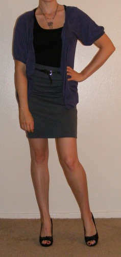 Grey Pencil Skirt and Purple Cartigan