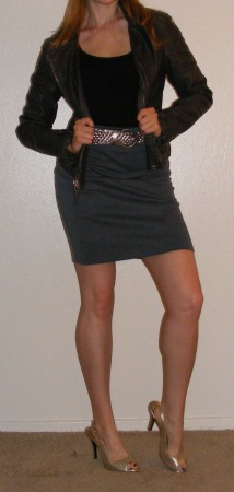Grey Pencil Skirt & Motorcycle Jacket