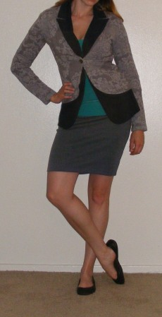 Grey Pencil Skirt, Navy Blazer & Grey Sweater