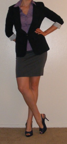 Grey Pencil Skirt & Navy Blazer