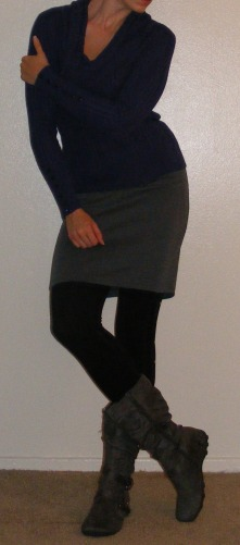 Grey Pencil Skirt & Navy Sweater