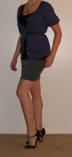 Grey Pencil Skirt & Purple Cartigan
