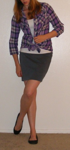 Grey Pencil Skirt & Purple Plaid Top