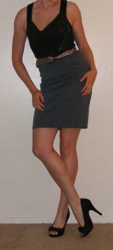 Grey Pencil Skirt & Shiny Black Tank