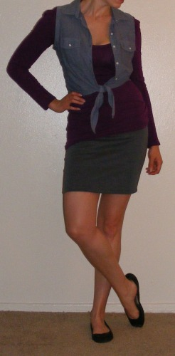 Grey Pencil Skirt, Violet Top & Chambray Vest