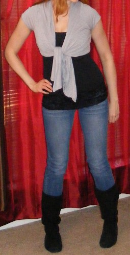 Faded Skinny Jeans & Black Tank, Black Boots