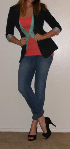 Faded Skinny Jeans, Coral Tank & Navy Blazer