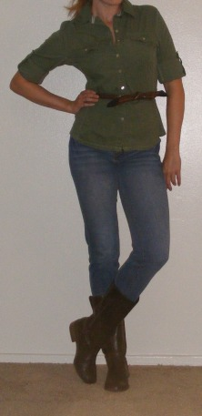 Faded Skinny Jeans & Green Button-Up