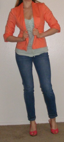 Faded Skinny Jeans, Mint Tank & Orange Blazer