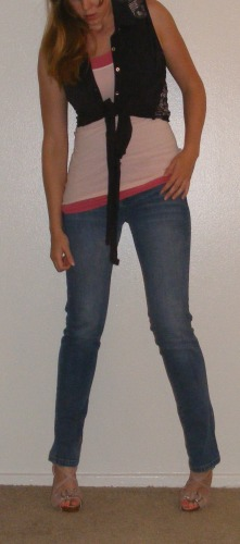 Faded Skinny Jeans, Pink Tank & Blue Tie Top