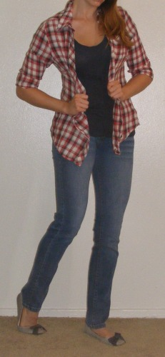Faded Skinny Jeans & Plaid Top