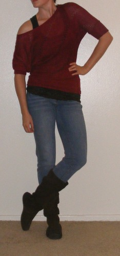 Faded Skinny Jeans & Red Slouchy Top