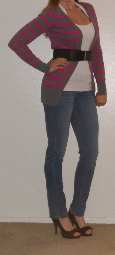 Faded Skinny Jeans & Striped Cartigan