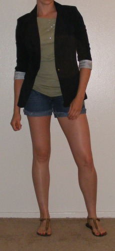 Navy Blazer & Denim Shorts