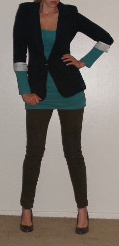 Navy Blazer, Green Tunic & Brown Leggings