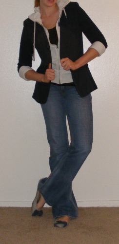 Navy Blazer, Grey Hoodie & Jeans
