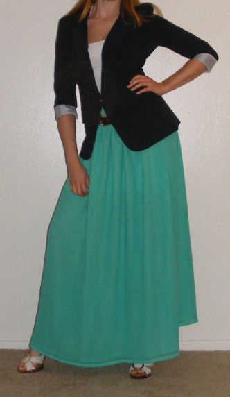 Navy Blazer & Teal Maxi Skirt