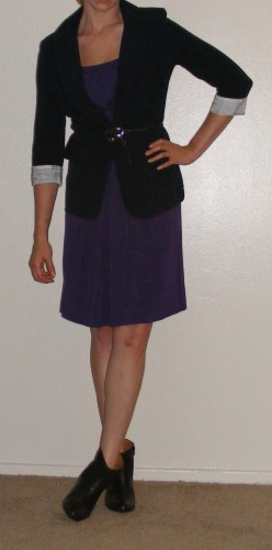 Purple Dress & Navy Blazer